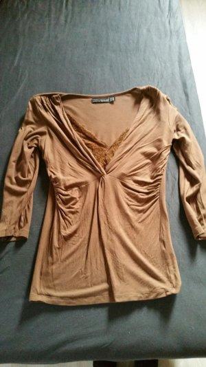Zara 3/4 Arm Pullover mit Spitze Braun Gr. 36