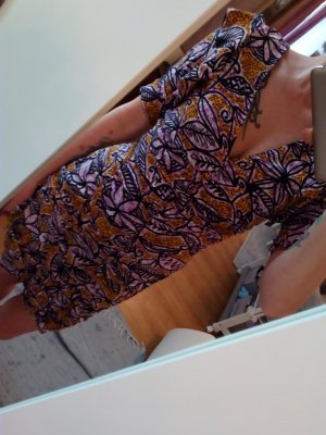 Zara Vestido de manga corta multicolor Poliéster