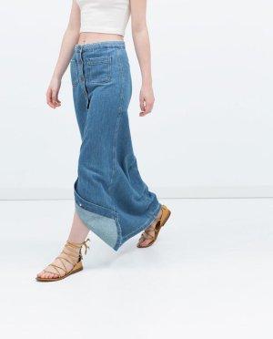 Zara 70er High Waist Denim Jeans Maxirock Blogger Trend Bohemian Vintage M