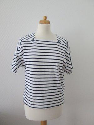 Zara 80er retro T-shirt gestreift blau/weiß neu