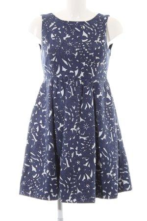 Zara A-Linien Kleid dunkelblau-weiß Business-Look