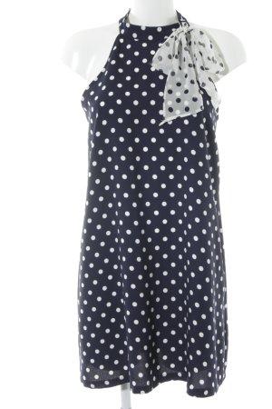 Zara A-Linien Kleid dunkelblau-weiß Punktemuster 70ies-Stil