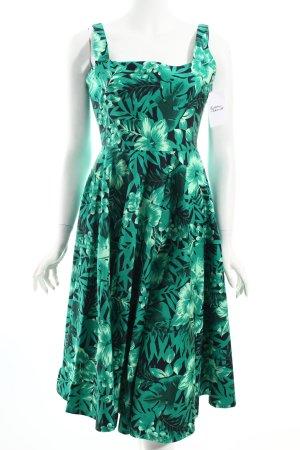 Zara A-Linien Kleid schwarz-waldgrün florales Muster Eleganz-Look