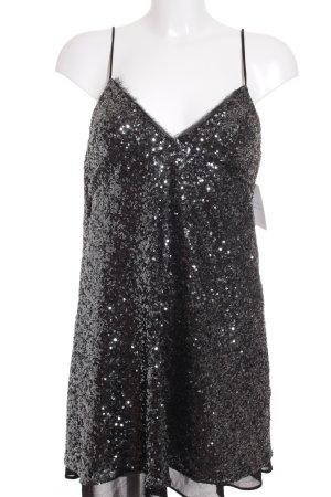 Zara A-Linien Kleid silberfarben-schwarz Party-Look