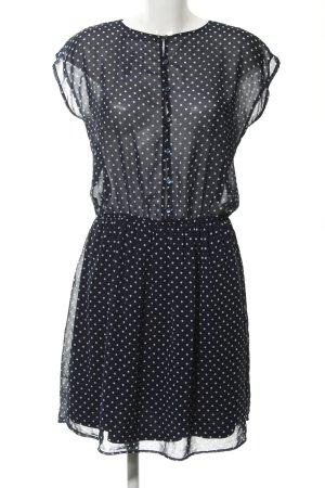 Zara A-Linien Kleid weiß-dunkelblau Punktemuster Casual-Look