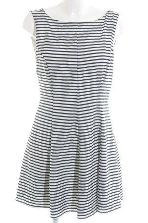 Zara Vestido línea A blanco-azul oscuro estampado a rayas estilo naval