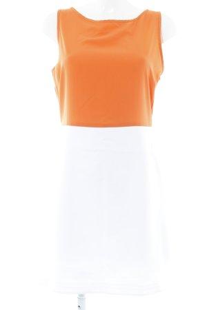 Zara A-Linien Kleid weiß-orange Casual-Look
