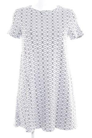 Zara A-Linien Kleid weiß-schwarz abstraktes Muster Casual-Look