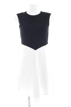 Zara A-Linien Kleid weiß-schwarz Colourblocking Elegant