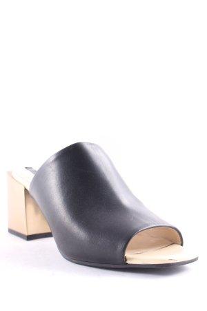 Zara Absatz Pantoletten schwarz-goldfarben Street-Fashion-Look