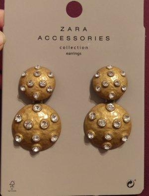 Zara Accessories Collection Ohrringe Ohrstecker Durchzieher gold strass blogger