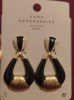 Zara Accessories Ohrringe Ohrstecker Hänger neu gold schwarz Blogger