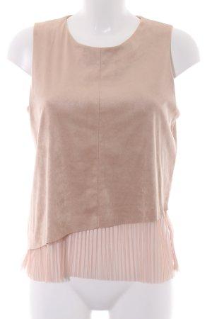 Zara ärmellose Bluse beige-altrosa Romantik-Look