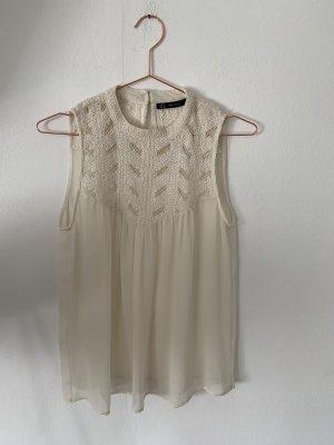 Zara Blusa sin mangas blanco puro