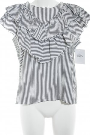 Zara ärmellose Bluse weiß-grau Streifenmuster Casual-Look
