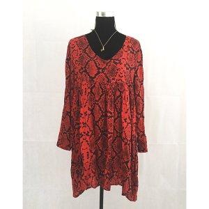 Zara T-shirt jurk zwart-rood
