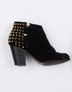 Zara Ankle Boots Größe 36 Wildleder-Optik Nieten gold schwarz