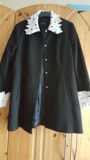 Zara Manteau court noir-blanc polyester