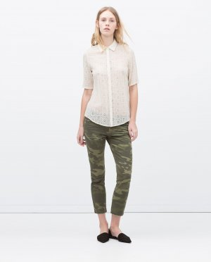 Zara Pantalon kaki-vert forêt