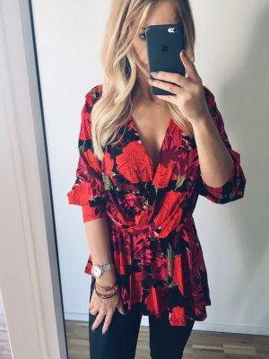 Zara Asymmetrische Bluse S 36 Volants Rot Pink