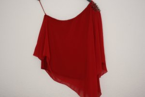 ZARA Asymmetrisches Rotes One Shoulder Top aus Chiffon mit Nieten