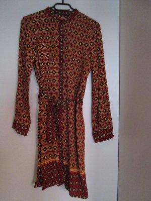 Zara Robe courte rouge foncé-jaune