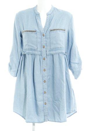 Zara Vestido babydoll azul aciano look casual