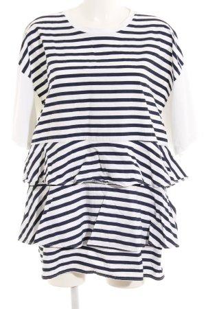 Zara Vestido babydoll blanco puro-azul oscuro estampado a rayas elegante