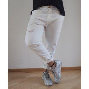 Zara Baggy Jeans white Denim 40 42 Boyfriend Hose Sommer destroyed look wie NEU
