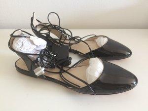 Zara Ballerinas 41 neu Schuhe schwarz zum Binden Sommer Herbst