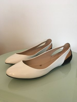 Zara Trafaluc Patent Leather Ballerinas white-black