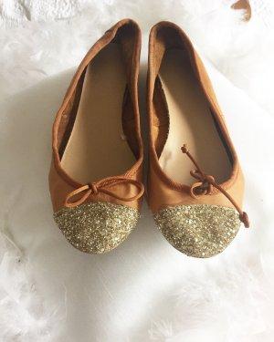 Zara Ballerinas Echtleder Leder Glitzer Gold 36 schuhe Sandalen
