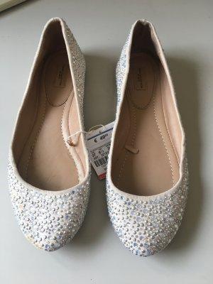 Zara Basic Bailarinas blanco puro