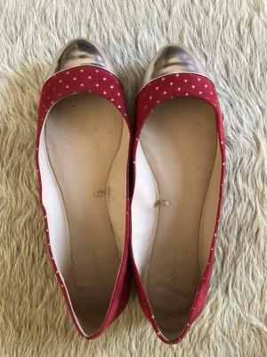 Zara Bailarinas sin talón color rosa dorado-rojo oscuro