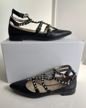 Zara Strappy Ballerinas black-silver-colored imitation leather
