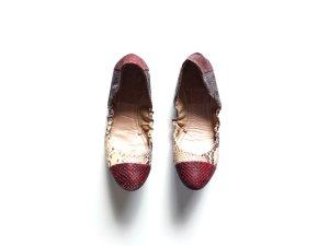 Zara Ballerinas Gr. 40 39 Animalprint Schlangen optik bordeauxbeige patchwork