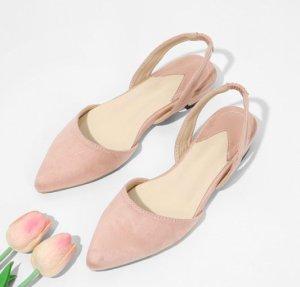 Zara Bailarinas sin talón rosa-rosa claro