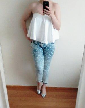 Zara Bandeau Top Gr. L 40 weiß peplum
