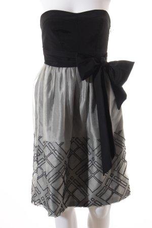 Zara Bandeaukleid schwarz-hellgrau grafisches Muster Elegant