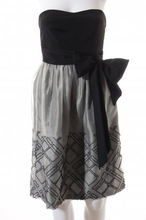 Zara Robe bandeau noir-gris clair motif graphique élégant