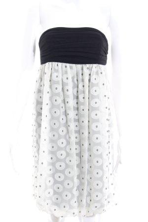 Zara Bandeaukleid schwarz-weiß Punktemuster Elegant