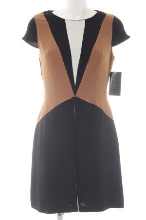 Zara Basic A-Linien Kleid schwarz-braun Elegant