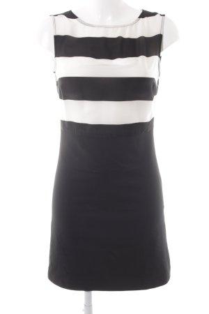 Zara Basic A-Linien Kleid schwarz-hellbeige Streifenmuster Elegant
