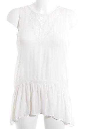 Zara Basic ärmellose Bluse creme Casual-Look