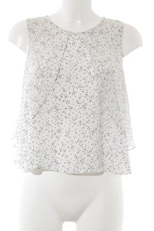 Zara Basic ärmellose Bluse weiß-schwarz Punktemuster Casual-Look
