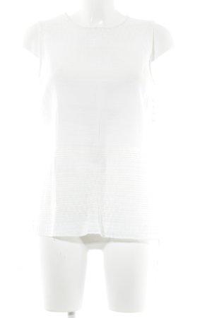 Zara Basic ärmellose Bluse wollweiß Streifenmuster Casual-Look
