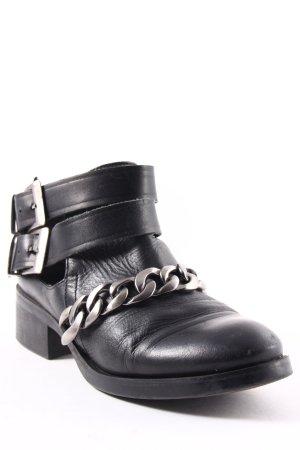 Zara Basic Ankle Boots schwarz Biker-Look