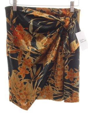 Zara Basic Asymmetry Skirt dark orange-black floral pattern street-fashion look