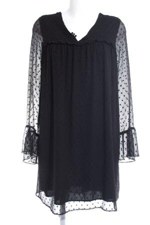 Zara Basic Vestido babydoll negro estampado a lunares estilo clásico