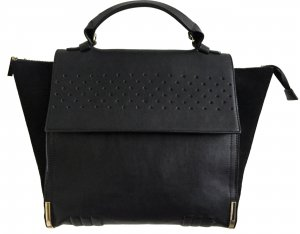 ZARA BASIC bag Tasche schwarz Leder + Wildleder Optik